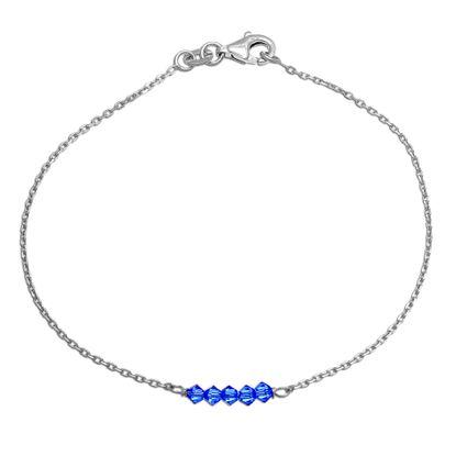 Imagen de Sterling Silver Blue Bead Station Cable Chain Bracelet