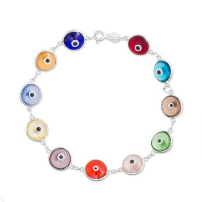 Imagen de Sterling Silver Multi-Color Glass Evil Eye 7 Bracelet
