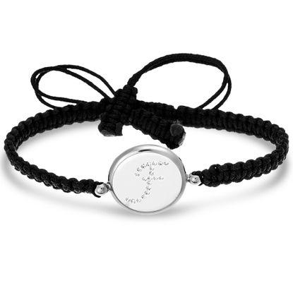 Imagen de Sterling Silver Crystal Intial F Disc Black Cord Adjustable Bracelet
