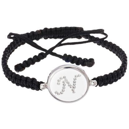 Imagen de Sterling Silver Crystal Intial N Disc Black Cord Adjustable Bracelet