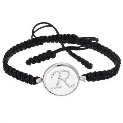 Imagen de Sterling Silver Crystal Intial R Disc Black Cord Adjustable Bracelet