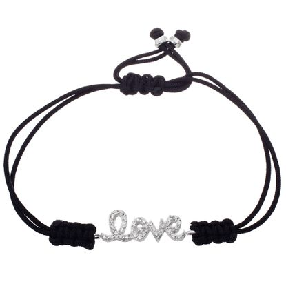 Picture of Sterling Silver Cubic Zirconia Black Cord Ecoat LOVE Bracelet