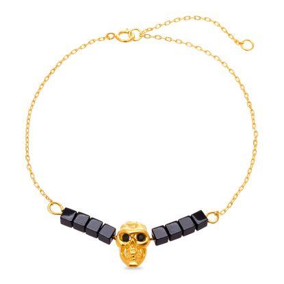 Imagen de Sterling Silver Hematite/Black Skull Station Bracelet