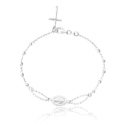 Imagen de Sterling Silver Religious with Faceted  Bead Charms and Jesus Bracelet