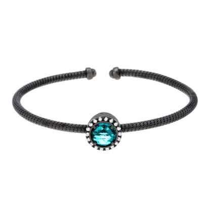 Imagen de Sterling Silver Black Onyx Textured Emerald And Cubic Zirconia Bracelet