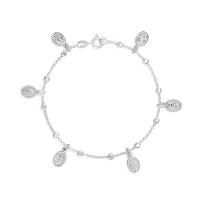 Imagen de Sterling Silver Plated with Miracolosa Oval Charm and Diamond Cut Beaded Bracelet