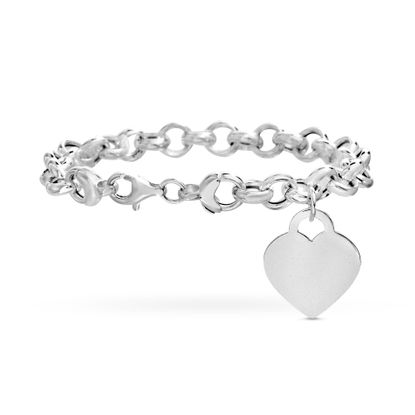 Imagen de Sterling Silver Eco Heart Charm Rolo Bracelet