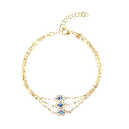Imagen de Sterling Silver Blue Evil Eye Cz Border Triple Layered Bracelet
