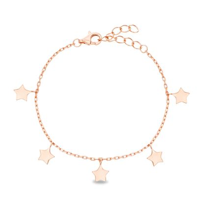 Picture of Sterling Silver Dangling Stars Station Cable Chain Bracelet