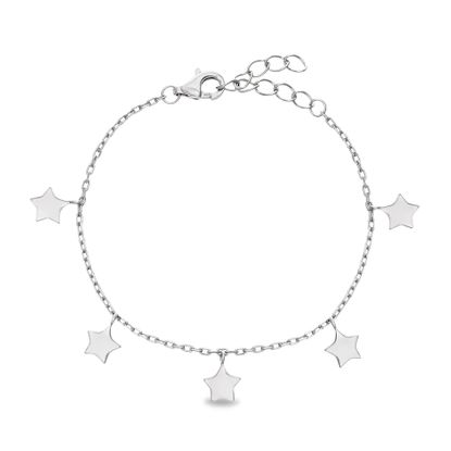 Picture of STERLING SILVER RHODIUM DANGLING STARS ON 5+1 CABLE CHAIN KIDS BRACELET