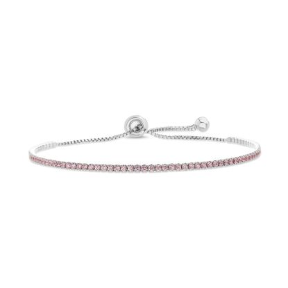 Imagen de Sterling Silver Cubic Zirconia Box Chain Clear Tennis Slider Bracelet