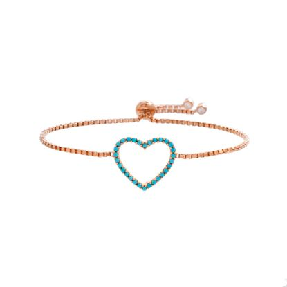 Imagen de Sterling Silver Cubic Zirconia Open Heart Station Slider Adjustable Bracelet