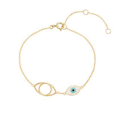 Picture of Sterling Silver Cubic Zirconia Turquoise and Clear Evil Eye Charm Bracelet