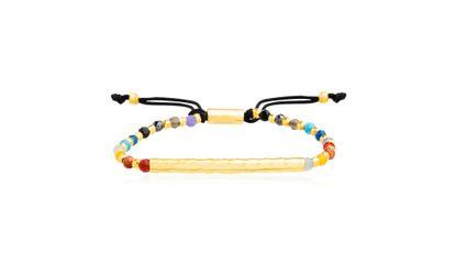Imagen de Sterling Silver Polished Bar Multi-Color Bead 5+2 Slider Bracelet