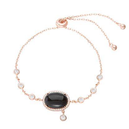 Imagen de Sterling Silver Cubic Zirconia Black Onyx Slider Bracelet
