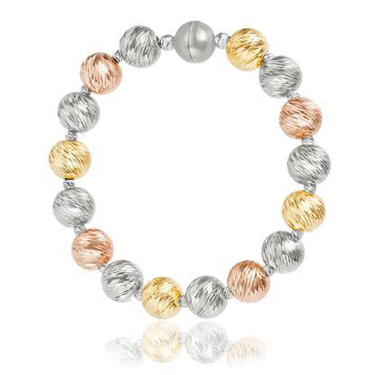 Imagen de Tri-Tone Sterling Silver Textured Beaded Stretch Bracelet