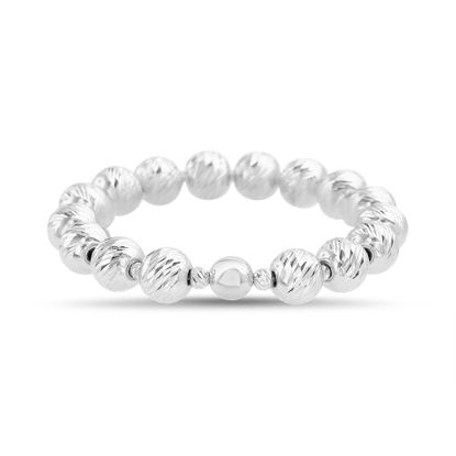 Picture of Sterling Silver Textured Beaded Stretch Bracelet