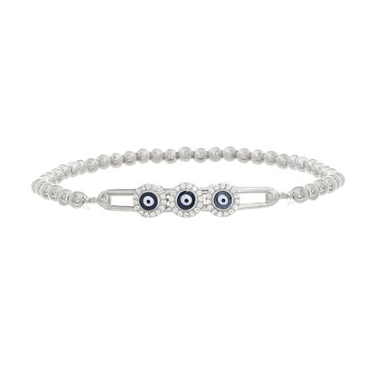 Imagen de Sterling Silver Cubic Zirconia Evil Eye Beaded Stretch Bracelet