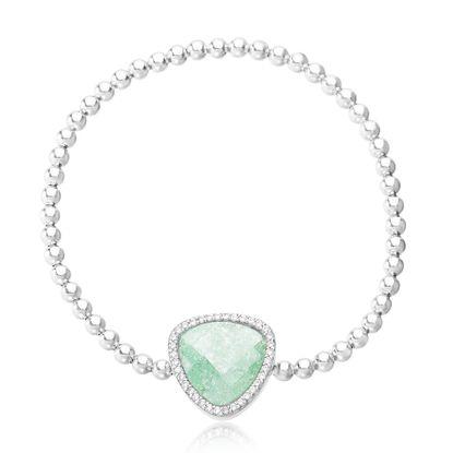 Imagen de Sterling Silver Cubic Zirconia/ Triangle Green Charm Stretchy Bracelet