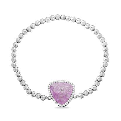 Imagen de Sterling Silver Cubic Zirconia Crushed Pink Triangle Beaded Stretch Bracelet