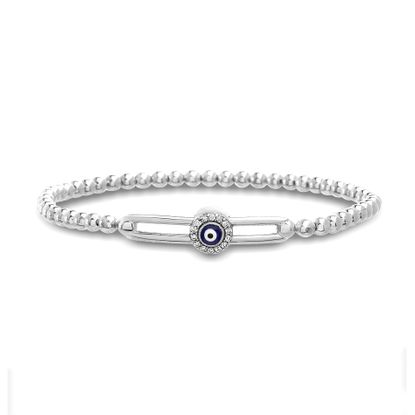 Imagen de Sterling Silver Cubic Zirconia/ Evil Eye Sliding Beaded Stretchy Bracelet
