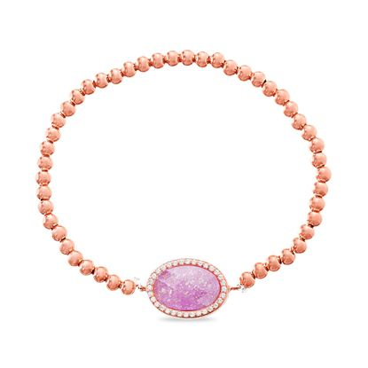 Imagen de Sterling Silver Cubic Zirconia Border/Oval Pink Beaded Stretch Bracelet