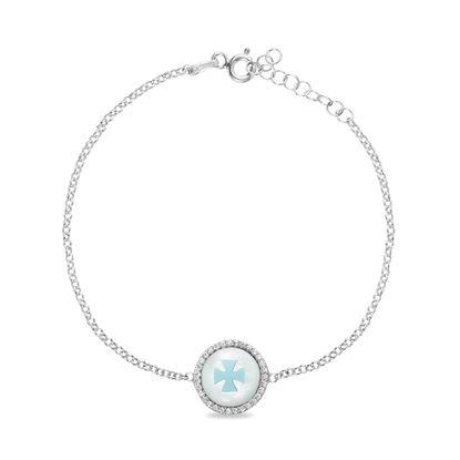 Imagen de Sterling Silver Cubic Zirconia/ Freshwater Pearl Celtic Cross Cable Chain Bracelet