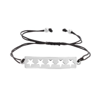 Imagen de Sterling Silver Star Cutout Station Black Adjustable Bracelet