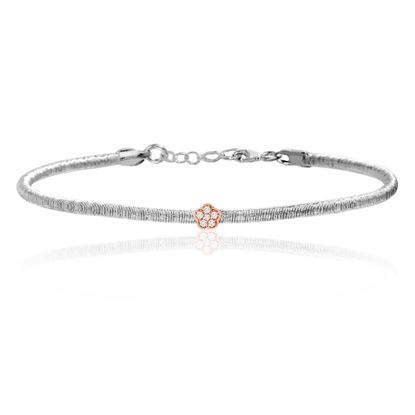Imagen de Two-Tone Sterling Silver Cubic Zirconia Flower Station Bracelet