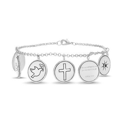 Imagen de Brass Cubic Zirconia Multi Religious Rolo Chain New Testament My Nano Bible Bracelet