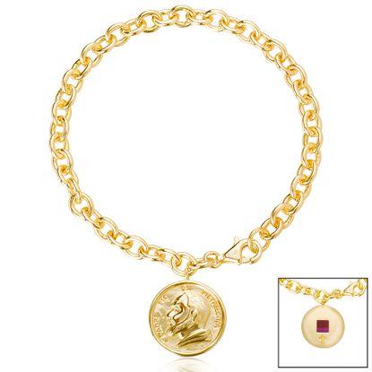 Imagen de Brass Religious Medal Rolo Chain New Testament My Nano Bible Bracelet