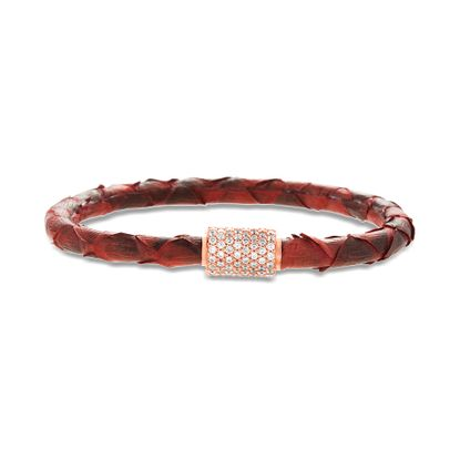 Imagen de Sterling Silver Clear Cubic Zirconia Station Red Snake Leather Bracelet