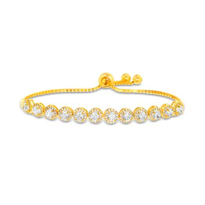 Imagen de Cubic Zirconia 12 Bezel Adjustable Slider Bracelet in Gold over Sterling Silver