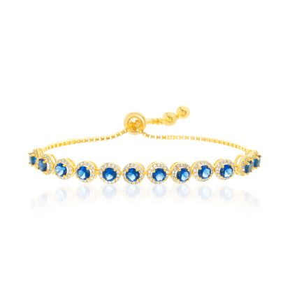 Imagen de Blue/Clear Cubic Zirconia 12 Bezel Adjustable Slider Bracelet in Gold over Sterling Silver
