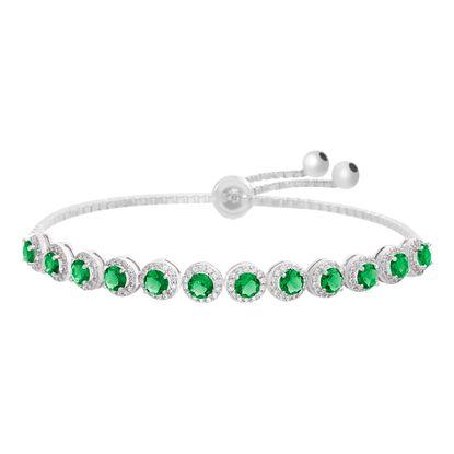 Imagen de Rhodium Plated Sterling Silver Center Green Glass Cubic Zirconia Border Box Chain Slider Bracelet