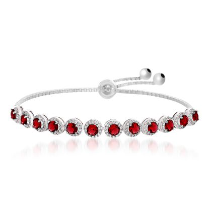 Picture of Rhodium Plated Sterling Silver Center Red Glass Cubic Zirconia Border Box Chain Slider Bracelet