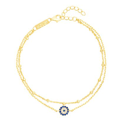Imagen de Blue & Genuine Cubic Zirconia Evil Eye Bracelet in Gold over Sterling Silver