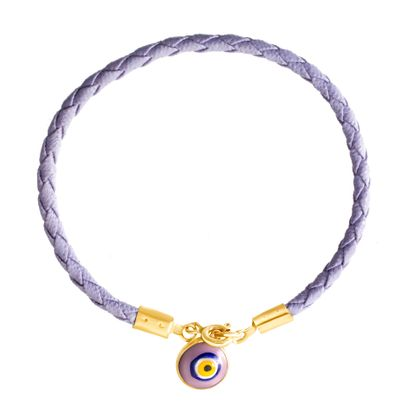 Imagen de E-Coat Sterling Silver Evil Eye Lavender Braided Leather Bracelet