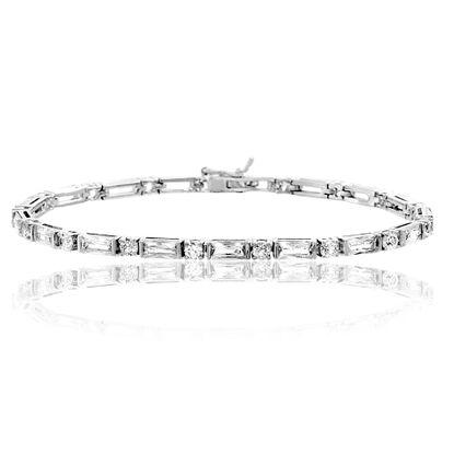 Imagen de Sterling Silver Round/Baguette Cubic Zirconia Tennis Bracelet