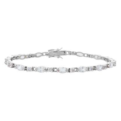 Imagen de Silver-Tone Brass Cubic Zirconia Oval and Square Stone Link Bracelet