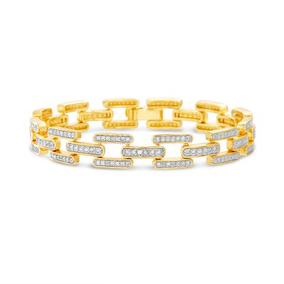 Picture of Diamond Accent 2 Tone Link Bracelet in Rhodium & Yellow Gold over Brass
