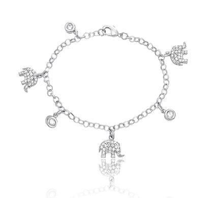 Imagen de Silver-Tone Brass Cubic Zirconia Charm Bracelet