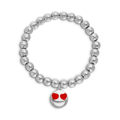 Picture of BRASS RHODIUM RED ENAMEL HEART FACE SMILY CHARM ON STRETCH BRACELET