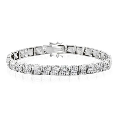 Picture of Three Row Diamond Accent S-Link Tennis Bracelet in Rhodium over Brass
