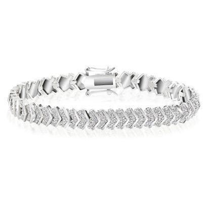 Imagen de V Design Diamond Accent Tennis Bracelet in Rhodium over Brass