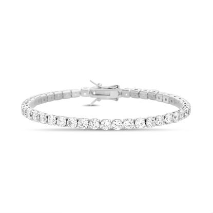 Picture of Rhodium Plated Brass Cubic Zirconia Tennis Bracelet