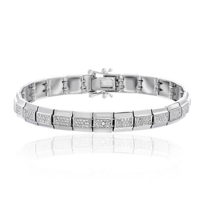 Picture of Pave Set Diamond Accent Tennis Bracelet in Rhodium over Brass