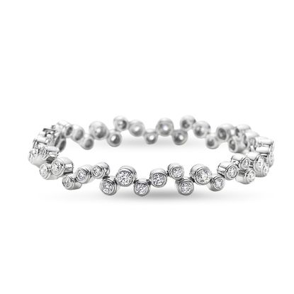 Imagen de Silver-Tone Brass Bezel Cubic Zirconia Bracelet