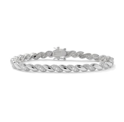 Picture of Diamond Accent Diagonal Link Tennis Bracelet in Rhodium over Brass