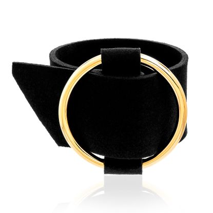 Imagen de Gold-Tone Brass Open Circle Black Leather Belt Design Bracelet